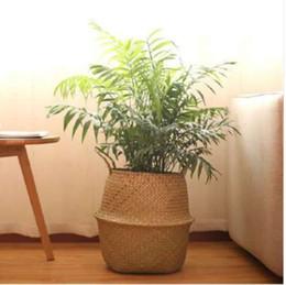 vasetti da giardino in ceramica all'ingrosso Sconti VStorage Basket Rattan Paglia Cesto Vimini Seagrass Piegato Lavanderia Vaso di fiori Vaso di fiori Giardino di casa Cesto appeso Matrimonio