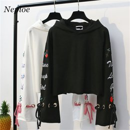 Wholesale Thick Sweatshirt Top Hoodie - Neploe Autumn Spring Auttum New Hooded Sweatshirts Women Loose Fleece Thick Hoodies Pullovers Raglan Sleeve Women Tops 67115