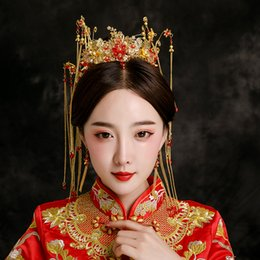 2019 chinesische traditionelle hochzeit schmuck Traditionelle Chinesische Braut Schmuck Hochzeit Kopfschmuck Frauen Kostüm Headwear Fotografie Haarschmuck Retro Königin Tiara Crown rabatt chinesische traditionelle hochzeit schmuck