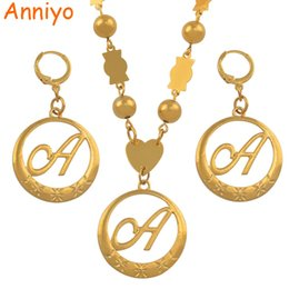 bead necklace gold balls Promo Codes - Anniyo Cursive Letters Gold Color Beads Pendant Initial Chain for Women Ball Necklace English Letter Jewelry #135006