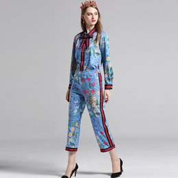 Wholesale L Brooch - Gorgeous flower Printed bow tie collar Brooch Shirt+Long Trouser 2 Piece Pants Set Suit slim Top quality women designer outfits