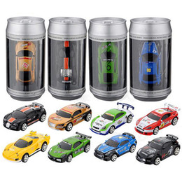 Wholesale Car Light Control - Mini RC Racing Car 1:58 Coke Zip-top Pop-top Can 4CH Radio Remote Control Vehicle 2010B LED Light 8 Colors Toys for Kids Xmas Gift