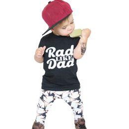 Wholesale Dog Clothes Pants - Baby Boys Clothes Summer Toddler Boy Clothing Sets 2017 New Letter Rad Like Dad T Shirt+Cartoon Dog Pants 2pcs Kids Clothing Set