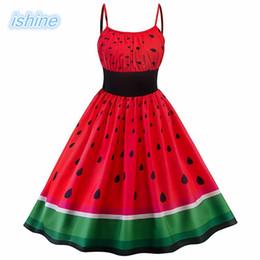 2018 Summer Dress Vintage Rockabilly Vestido Jurken 60s 50s Retro Big Swing Sandía Print Mujeres Audrey Hepburn Vestidos desde fabricantes