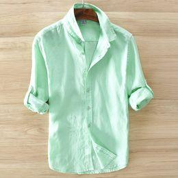 Wholesale Linen Shirt Plus Size - 2017 Mens Dress Shirts 100%Linen Casual Slim White Long Sleeve Brand Clothing Plus Size S-3XL Chemise Homme Y285