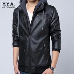 Wholesale Punk Rock Leather Jacket Men - Wholesale- Hot Casual Hooded Faux Leather Jacket Men Korean Slim Fit Black Coats Vintage Punk Homme Jackets Rock Jaqueta Masculina Inverno