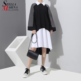 Wholesale Two Piece Night Club Wear - 2018 Spring Fake Two Piece Women Black & White Shirt Dress Long Sleeve Plus Size Female Loose Casual Wear Midi Dress Style 3252