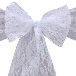 textile butterflies Promo Codes - Lace Chair Sash Bow Ties Butterfly Cover Wedding Decoration Table Runner Marriage Banquet Home Textile Party Supplies
