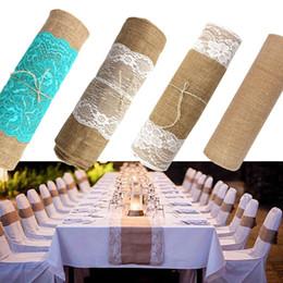 Wholesale Lace Table Cloth Wholesale - 275cmx30cm Vintage Natural Burlap Jute Linen Table Runner Lace Cloth For Dinning Room Restaurant Table Gadget Home Decor
