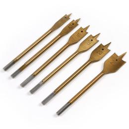 Perforación industrial online-6 Unids Métrico Industrial Spade Paddle Flat Wood Taladro Perforador de Titanio Recubierto Bit Set Herramientas 10 12 16 18 20 25mm