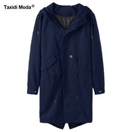 Wholesale Zipper Design Trench Coat - Taxidi Moda New Autumn Mens Casual Trench Coats Cotton Letter Blue Color Brand Clothing Man's Slim Windbreaker Long Jackets 444