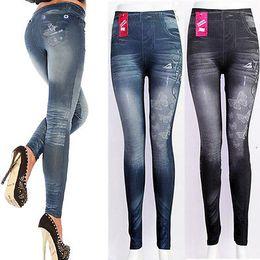 Pantalons les plus minces femmes chaudes en Ligne-Femme chaude lavé Vintage mince noir crayon crayon pantalon bleu Leggings Denim skinny pantalon taille haute Jeans pantalon femme