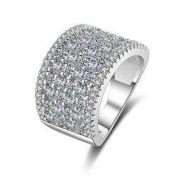 Bague pavée platine en Ligne-Micro Pavé 3a Zircons CZ Diamant Plaqué Platine Large Anneaux Bijoux Femmes Produits Les Meilleures Ventes en Europe et en Amérique