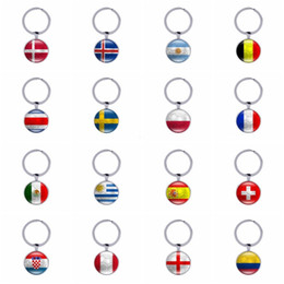 Wholesale Mini Car Flags - Lovely Mini Football Keychains World Cup Country Flags Keyrings Soccer Club Fans Souvenir Car Key holder