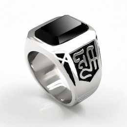 Wholesale banded onyx - Elegant Square New Black Onyx Stone Band Ring Men 316L Stainless Steel Silver Color Fashion Mens High Quality Jewelry Wholesale
