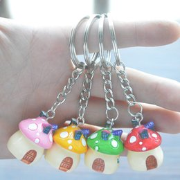 Wholesale mushrooms men - Resin Mushroom house Castle Keychain Keyholder For Car Handbag Pendant Accessories Jewelry Gift 4 Styles Support FBA Drop Shipping G742Q