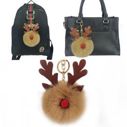 7 couleurs femmes lapin cheveux fourrure balle porte-clés mignon strass renne fille sac à main accessoires porte-clés pompon sac accessoire ? partir de fabricateur