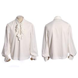 Wholesale Men Gothic Shirt - Gothic Men Single Button Long Sleeve White Shirts Steampunk Ruffles Tuxedo Shirt Classic Long Sleeve Cotton Shirt Tops