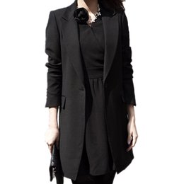 Wholesale Ladies Casual Blazers - Wholesale-Spring Women Slim Blazer Coat 2017 New Black Fashion Casual Jacket Long Sleeve One Button Suit Ladies Blazers Work Office Wear