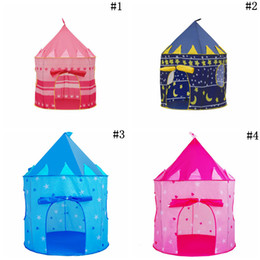 2021 indoor-spielhäuser Faltbare Pop Up Play Tent Kids Boy Prince Castle Playhouse Indoor Outdoor Folding Zelt Cubby Spielhaus Neuheit Artikel 30 stücke OOA5481