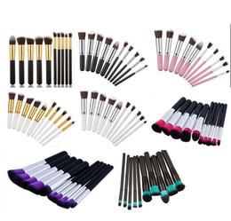 brosses à mascara blanche Promotion 10pcs / set mini maquillage brosses fondation mélange blush maquillage pinceau outil beauté Kit Set EMS DHL gros 20 Set