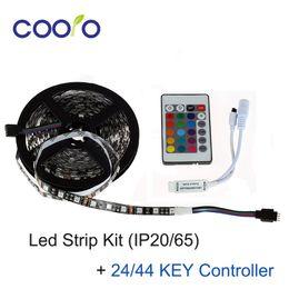 Wholesale Pcb Strip Board - 5050 LED Strip Kit With 24 44KEY Controller DC12V 60Led M Black PCB Board 5M Roll 300LEDS Non-Waterproof Led Flexible Light