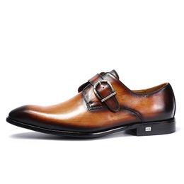 European Style Handmade Echtes Leder Männer Braun Mönch Strap Formale Schuhe Büro Business Hochzeit Anzug Kleid Loafers