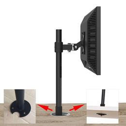 Supporto porta tv online-Staffa di montaggio TV da tavolo con foro passacavo da tavolo per monitor LCD LED