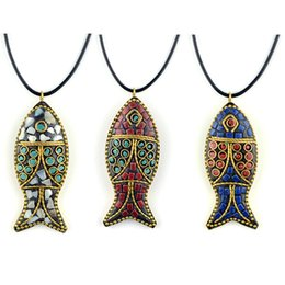 Wholesale Money Fishing - Nepal handmade fish pendant creative money Necklace sweater chain accessories manufacturer direct selling