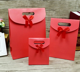 Wholesale Gift Bags Paper Bow - 2018 red color small gift fashionable packaging advertising paper bag with bow tie