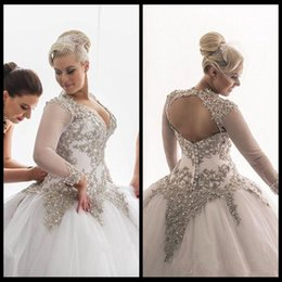 Wholesale Modest Luxury Wedding Dress - Plus Size Modest Long Sleeves Ball Gown Luxury Wedding Dresses Lace Applique Crystals Beaded Bridal Hollow Back Wedding Bridal Gowns
