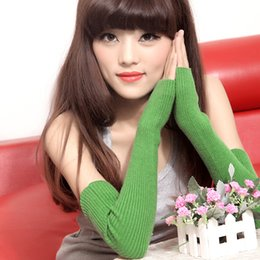 Wholesale arm warmers cotton - Lady Autumn Winter Gloves Knit Wool Fingerless Solid Color Long Mittens Half Finger Cuff Glove Unisex Fashion Warm Driving Arm Sleeve 15db h