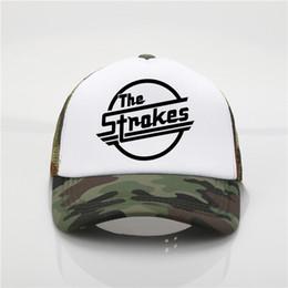 Modelos de chapéu de praia on-line-Mais recente modelo The Strokes banda impressão net cap boné de beisebol Das Mulheres Dos Homens Tendência do verão New Youth Joker chapéu de sol chapéu de Viseira de Praia