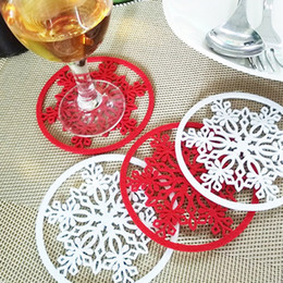 Wholesale Red Dinnerware - Christmas Table Snowflake Dinnerware Mat Pad Coaster Ornaments Cup Mat Home Xmas Party Decor Supplies 2018