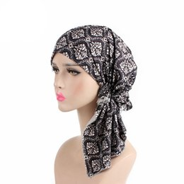 Wholesale pre girls - New Muslim Scarf Cotton Lined Pretied Beanie Turban Hat Chemo Cap Pre-Tied Headwear Bandana For Cancer Hair Loss