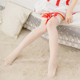 Coxa branca de poliéster on-line-Oco Out Sexy Meias Meia-calça Feminina de Malha Mulheres Brancas Meias Coxa Meias Altas Longo Meia Lotação Enfermeira Trajes