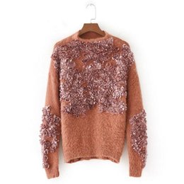 Wholesale Thick Knitwear Women - Sexy Sleeve Appliques Flower Leaves Sweater 2017 New Women Knitted O neck Shaggy Pullover Knitwear Jumper Tops 3 colors