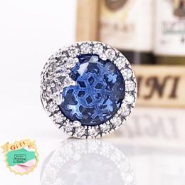 Autentico 925 Sterling Silver Beads Blu Dazzling Fiocco di neve fascino Adatto a marchio europeo stile gioielli bracciali collana 796358NTB da