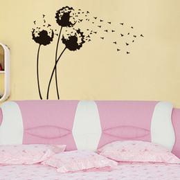 Vinilo de pared de vinilo de diente de león online-Diente de león pegatinas de pared diy decoración del hogar dormitorio tatuajes de pared de vinilo extraíble planta pegatinas para pared arte murales