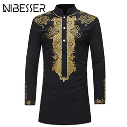 african print men designs Promo Codes - NIBESSER Men Dashiki Dress Shirt Summer African Clothing Man fashion design Shirt African traditional printed Male Hippie