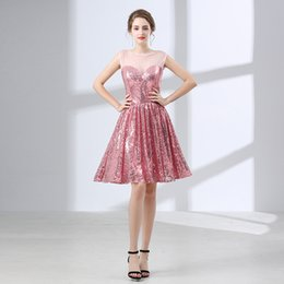 Wholesale Sequin Short Bra - 2018 Bling Rose Gold Sequined Prom Dress Lace Fake Perspective Bra Top Cocktail Dress Party Dress