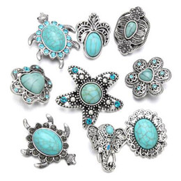 Wholesale Female Elephant - 10Pcs Fashion Turquoisestone 18mm Metal Snap Button Elephant flowers starfish For Bracelet Watches Women Female DIY Jewelry