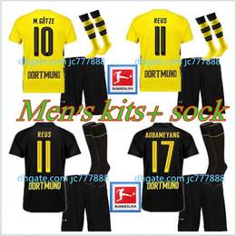 Wholesale top green soccer jerseys - Top quality Borussia Jersey 17 18 Men Soccer Jersey Kits + Sock 2017 2018 AUBAMEYANG GOTZE MOR KAGAWA REUS SAHIN adult football jerseys