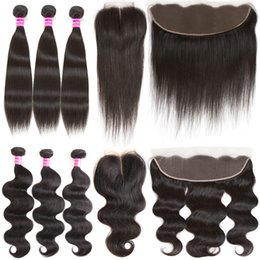 Wholesale Cheap Virgin Brazilian Hair Extensions - Wholesale Brazilian Virgin Human Hair Weave 3 Bundles with 4x4 Top Lace Closure or 13x4 lace fontal Cheap Hair Extensions