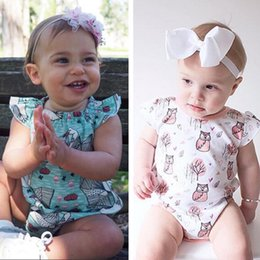 Wholesale Owl Trees - Newborn Baby Romper With White Swan Pink Owl Tree Printed Lotus Leaf Short Sleeve Triangle Jumpsuit Summer Girl Clothing 0-24M