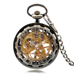 механические часы механизма Скидка Vintage Bronze Skeleton Gear Gold Dial  Mechanical Hand Wind Pocket Watch Analog Steampunk Fob Clock Gift