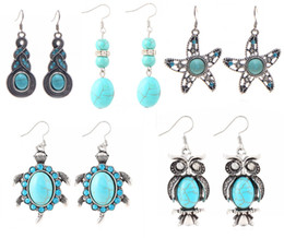 Wholesale Mother Pearl For Sale - Fashion Turquoise Drop Earrings Personalized Silver Plated Eardrop Dangle Earring For Women Hot Sales Jewelry Gift D392L