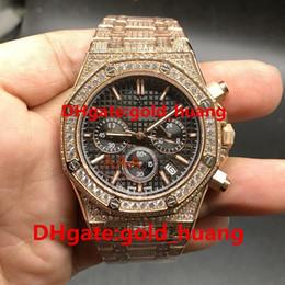 Canada Montre homme de luxe entièrement givrée avec quartz de 42 mm de diamants Montre avec bande de diamant complète Quartz en acier inoxydable Saphir Montre de fonction pour homme Offre