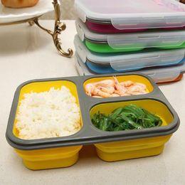 2019 forquilha para lancheiro New Silicone Dobrável Portátil Lunch Box Bowl Dobrável Recipiente De Armazenamento De Alimentos Lunchbox Eco-Friendly 3 Grades Lancheira de Microondas