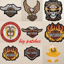 Wholesale Large Iron Patches - Wholesale lot motor Iron Sew on Large Patch anchor eagle skeleton Rank Insignia Embroidered BadgeDIY